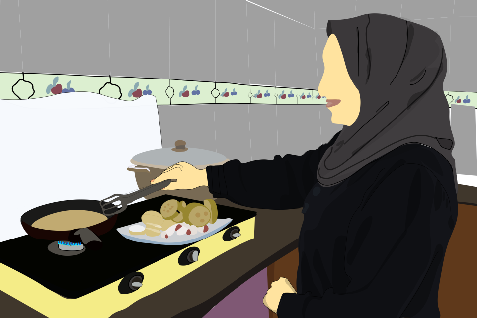 In Palestine, many women face additional workloads at home due to the COVID-19 lockdown measures. Illustration: UN Women/Ahmad Abu Rashed.