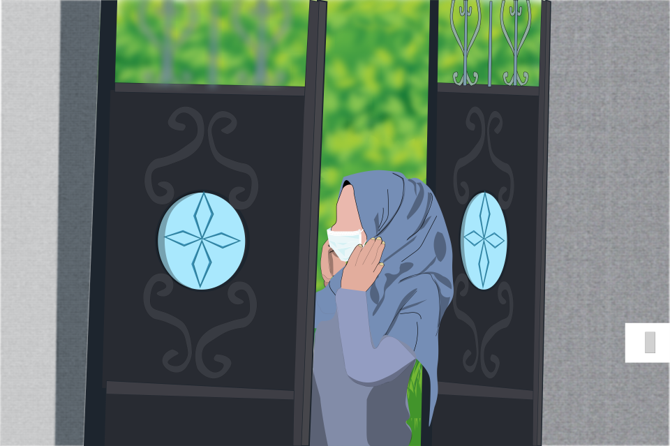 Lockdown measures around the world have led to increases in domestic violence and created new barriers to survivors seeking support. Illustration: UN Women/Ahmad Abu Rashed.