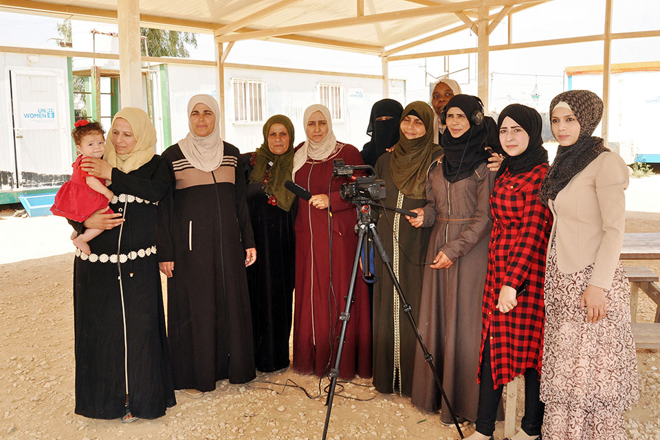 """Syrian refugee women in Jordan after they finished recording their participatory video entitled: """"Woman is the spirit of life"""". Photo: UN Women"""