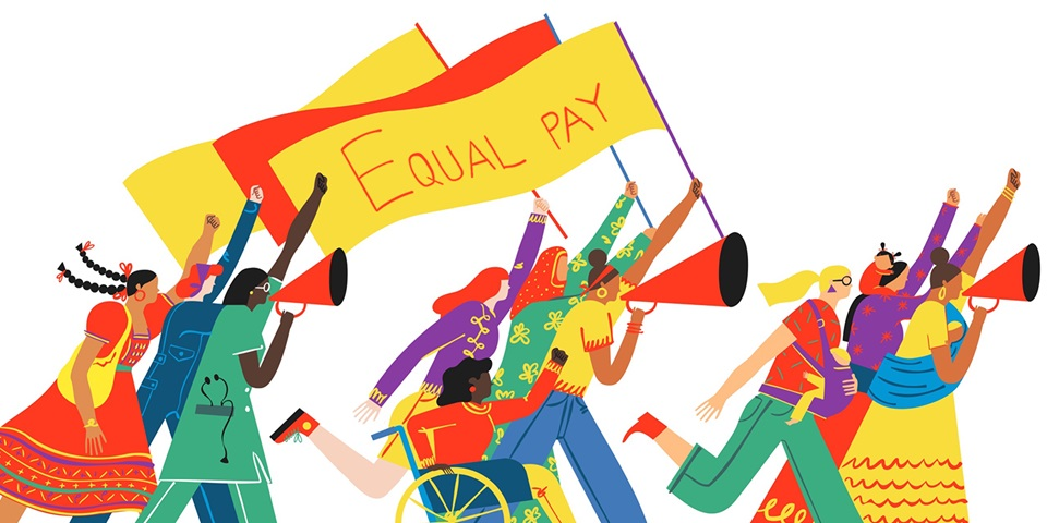 illustration of women waving an equal pay banner
