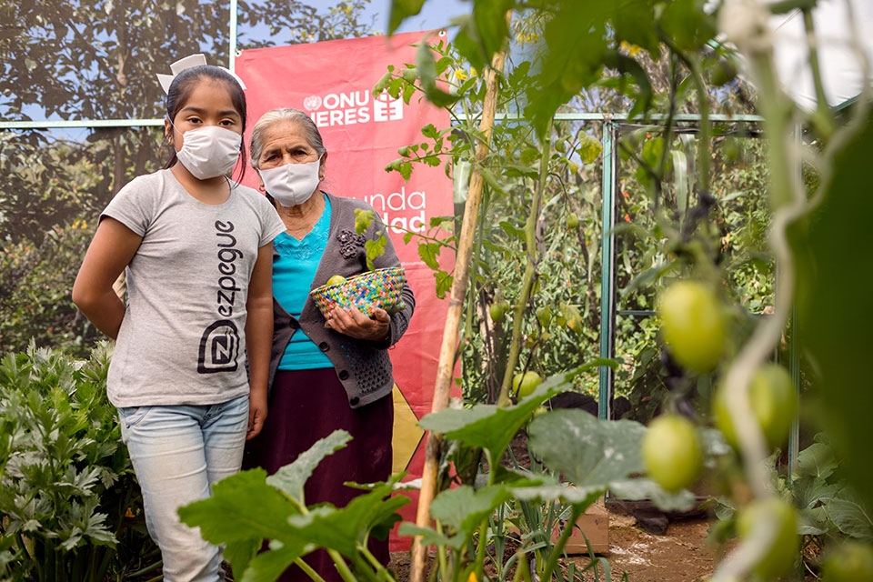 In Ajalpan, Anayeli, 11, and Sirenia Alva Altamira, 80, stand for a photo with produce from the greenhouse they tend. With children out of school due to the coronavirus pandemic, some program participants bring children along to learn too. Photo: UN Women/ Dzilam Méndez