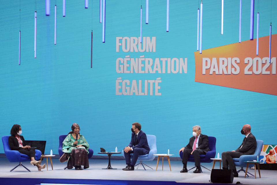 Member of the Generation Equality Youth Task Force Shantel Marekera, UN Women Executive Director Phumzile Mlambo-Ncuka, President of France Emmanuel Macron, UN Secretary General Antonio Guterres and President of the European Council Charles Michel participate in the opening ceremony of the Generation Equality Forum in Paris