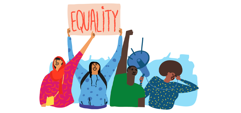 illustration showing activists holding up an 'equality' banner.