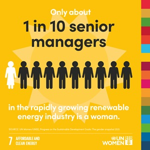 Only about 1 in 10 senior managers in the rapidly growing renewable energy industry is a woman.