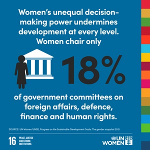 Women's unequal decision-making power undermines development at every level. Women only chair 18% of government committees on foreign affairs, defence and human rights.