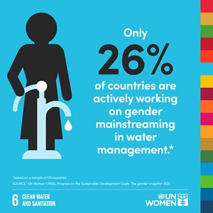 Only 26% of countries are actively working on gender mainstreaming in water management.