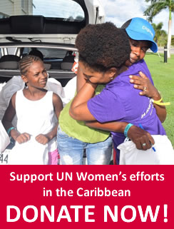 Support UN Women's efforts in the Caribbean. Donate now! Nadia John thanks Farmala Jacobs, acting Executive Director of the Directorate of Gender Affairs, after receiving a dignity kits following Hurricane Irma in Barbuda. Photo: Antigua and Barbuda Directorate of Gender Affairs/Nneka Nicholas.