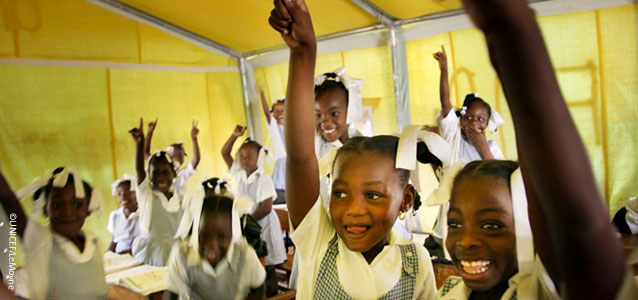 Girls in school in Haiti. UNICEF image.