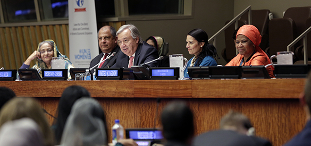 "Prime Minister of Bangladesh, Sheikh Hasina; President of Costa Rica, Luis Guillermo Solís Rivera; UN Secretary-General António Guterres; United Kingdom Secretary of State, International Development, Priti Patel; and UN Women Executive Director Phumzile Mlambo-Ngcuka take part in the ""Leave No One Behind: Actions and Commitments for Women's Economic Empowerment"" event on 19 September in New York. Photo: UN Women/Ryan Brown"