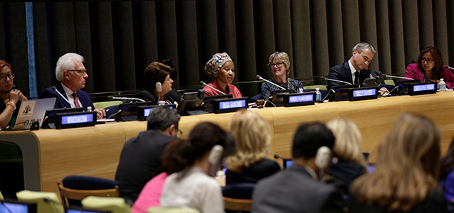 At an event in the context of the High-Level Political Forum, the High-Level Panel on Women's Economic Empowerment urges action to fulfill commitments. Photo: UN Women/Ryan Brown
