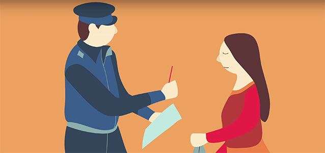 An illustration of a policeman talking to a young woman.