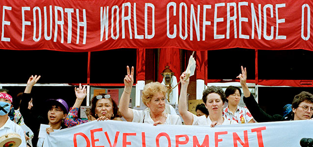 Participants at the Non-Governmental Organizations Forum meeting held in Huairou, China, as part of the United Nations Fourth World Conference on Women held in Beijing, China on 4-15 September 1995. Photo: UN Photo/Milton Gran