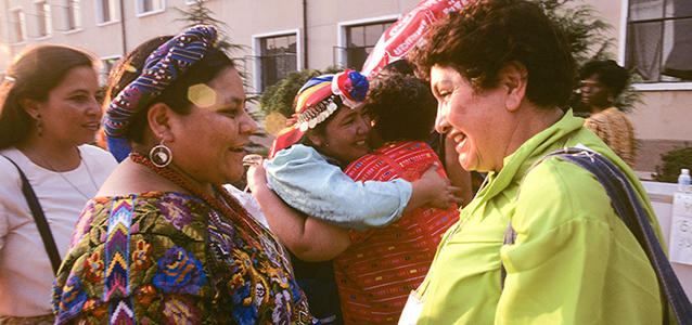 Rigoberta Menchu Tum, Nobel Peace Prize laureate, attended the Fourth World Conference on Women in Beijing in 1995. Photo: Maggie Hallahan