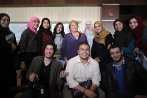 UN Women Executive Director Michelle Bachelet poses with audience members following a forum with youth and civil society in Tripoli, Libya on Monday 12 March 2012.   UN Photo/Iason Foounten