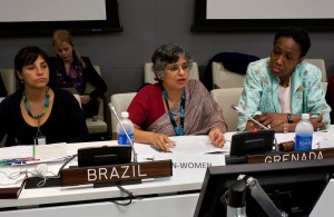 Saraswathi Menon, UN Women Director for Policy (pictured center), speaks on the subject of gender perspectives in the post 2015 development agenda and the SDGs. Pictured left is Marcia Machagata, Ministry of Social Affairs and Combating Hunger, Brazil. Pictured right is  Dessima Williams, Ambassador and Permanent Representative of the Permanent Mission of Grenada to the UN. Photos:UN Women/Ryan Brown