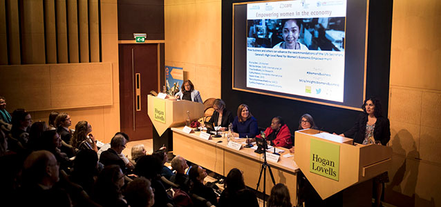 "Purna Sen, UN Women Policy Director, moderates the ""Empowering women in the economy"" event held in London on 6 September 2017 to discuss how the private sector can advance the recommendations of the UN Secretary-General's High-Level Panel (HLP) on Women's Economic Empowerment. The event was co-organized by CARE International, the UK's Department for International Development (DFID), Business Fights Poverty, and the HLP. Photo: CARE International."