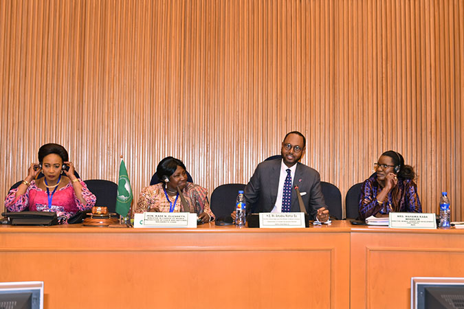 Mr. Amadou Mahtar Ba, Founder and Executive Chairman of AllAfrica Global Media and HLP member during his presentation at the AU Summit. To his right, Mrs. Mahawa Kaba Wheeler, Director, Gender and Development Directorate of the African Union Commission, and to his left, Ms. Madam Kade N. Elizabeth, Minister in Charge of Women, Protection of Child and National Solidarity of Chad. Photo: UN Women/Helen Yosef