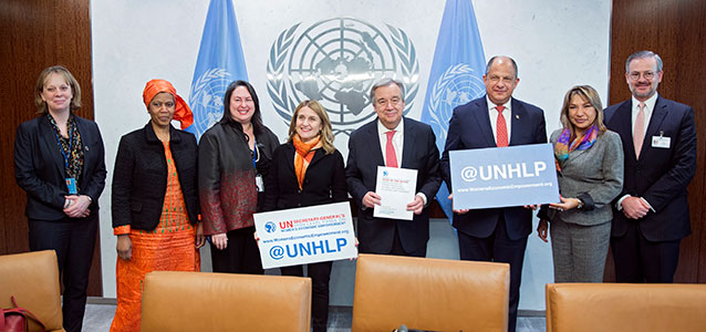 Members of the UN Secretary-General's High-Level Panel on Women's Economic Empowerment present Secretary-General Antonio Guterres with the final report of the panel at United Nations Headquarters on 13 March 2017. Photo: UN Women/Ryan Brown.
