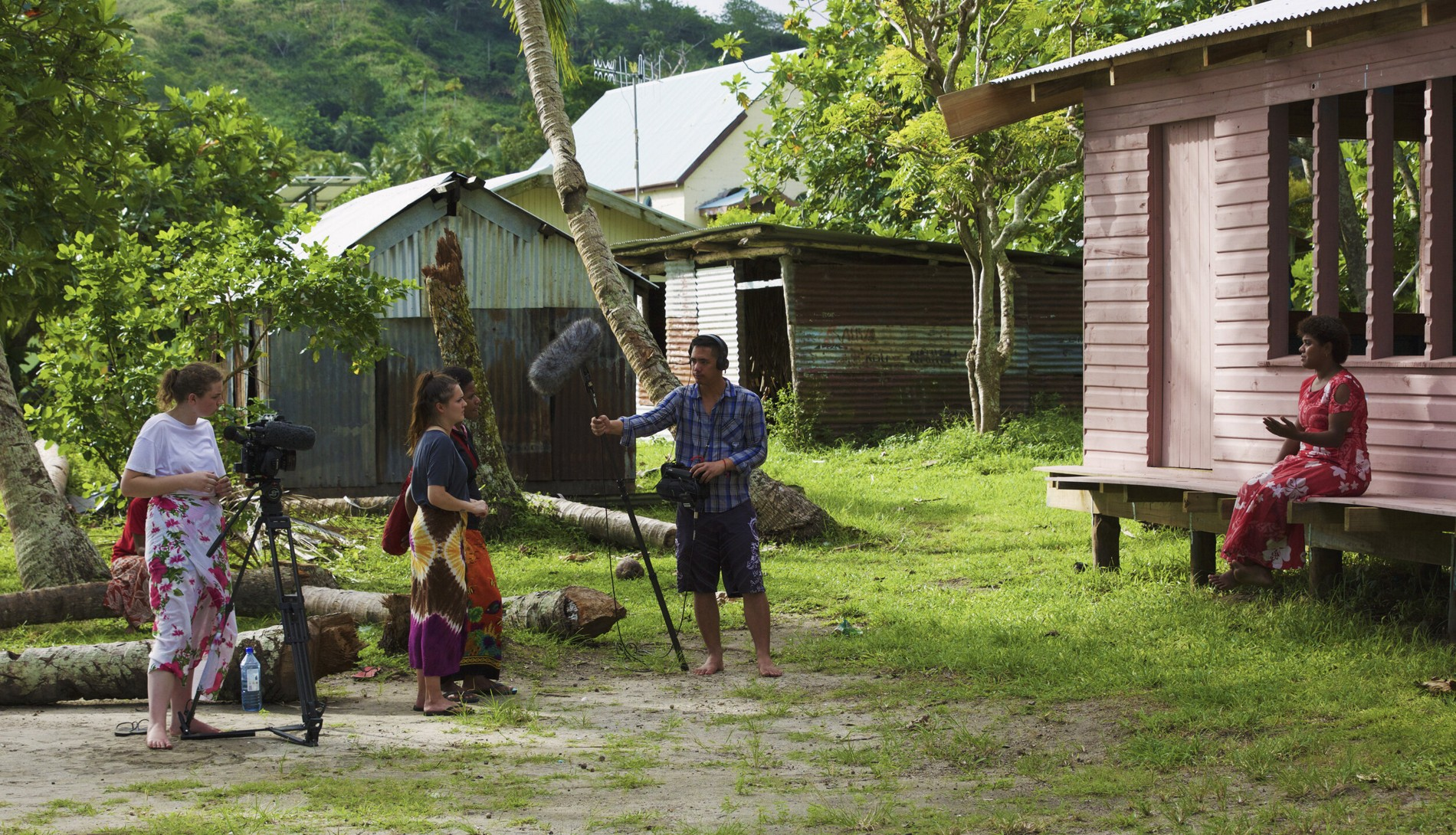 The filmmakers interview a woman in Batiki village during the making of the documentary. Photo: Courtesy of Massey University, New Zealand