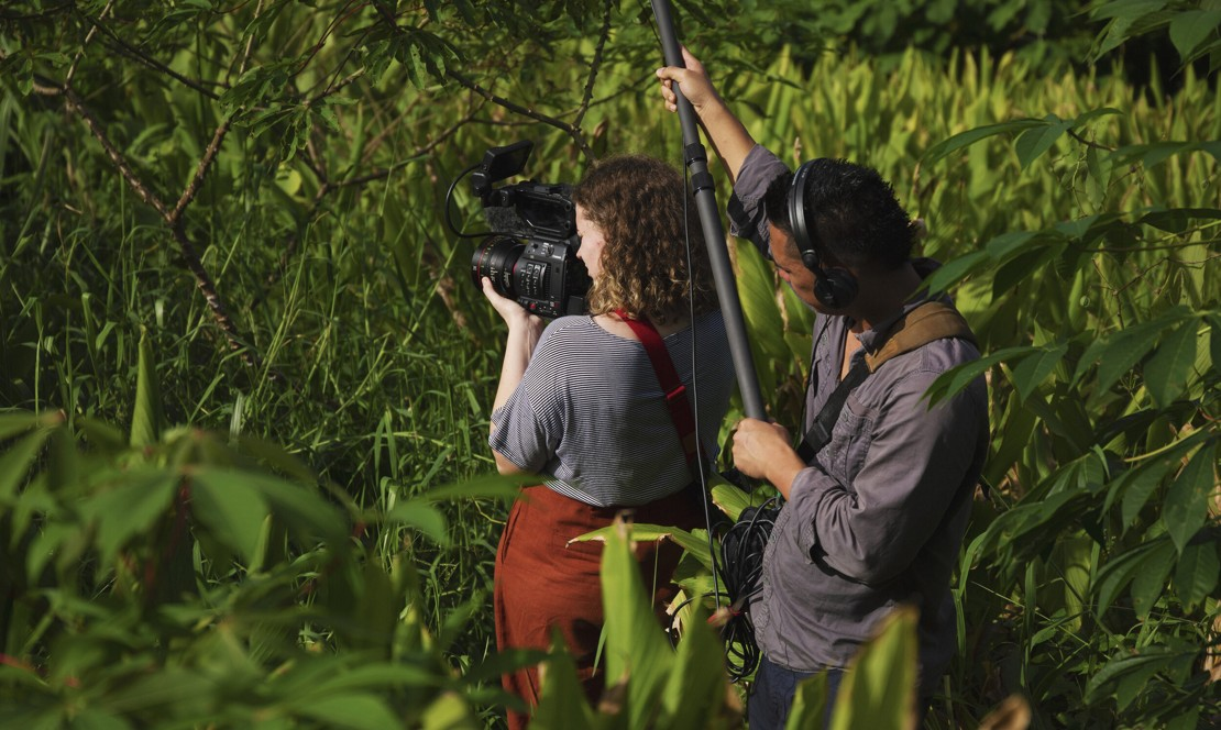 Alexandra Brock and the documentary film team in action. Photo: Courtesy of Massey University, New Zealand