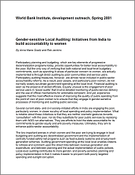 Gender-Sensitive Local Auditing: Initiatives from India to Build Accountability to Women