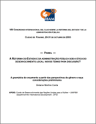 Budgetary Grammar from a Gender and Race Perspective: Preliminary Thoughts (Brazil) 2003