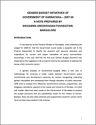 Gender Budget Initiatives of Government of Karnataka (India)