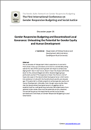 Gender Responsive Budgeting and Decentralized Local Governance