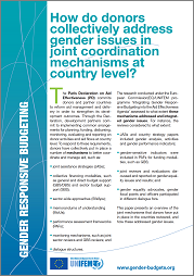 How do donors collectively address gender issues in joint coordination mechanisms at country level?