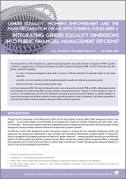 Integrating gender equality dimensions into public financial management reforms