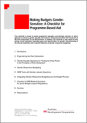 Making Budgets Gender- Sensitive: A Checklist for Programme-Based Aid