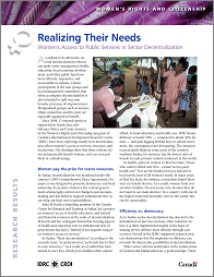 Realizing Their Needs: Women's Access to Public Services in Sector Decentralization