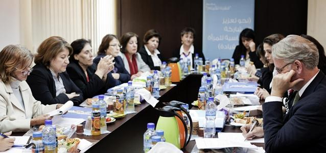 John Hendra meets with representatives of the Palestinian Women