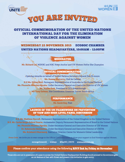Invitation to the official commemoration of International Day for Eliminating Violence against Women