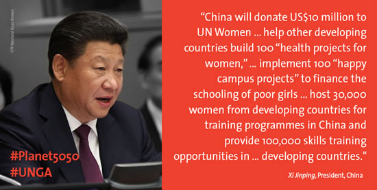 China pledges USD 10 million commitment to UN Women, assistance for other developing countries to build 100 health projects for women and children