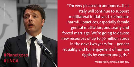 Italy pledges new resources of up to 50 million euros will advance gender equality and women's rights