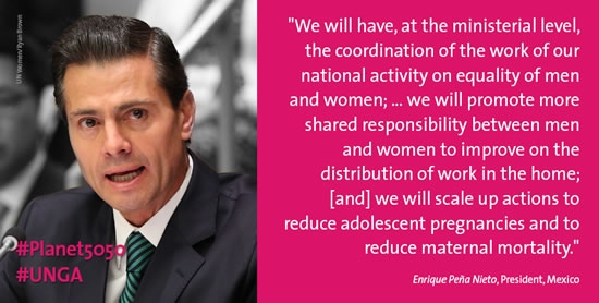 Mexico commits to better coordination of national gender equality actions, scaled up measures on reproductive health
