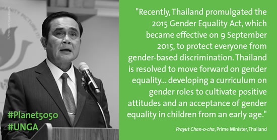 Thailand promises education to cultivate acceptance of gender equality, data to monitor progress, training to promote gender-responsive budgeting