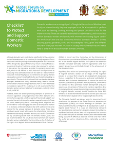 Checklist to Protect and Support Domestic Workers