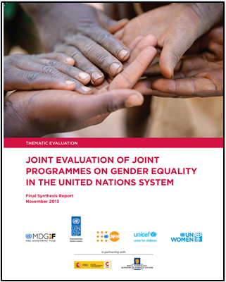 Joint Evaluation of joint Programmes on Gender Equality in the United Nations Systems cover
