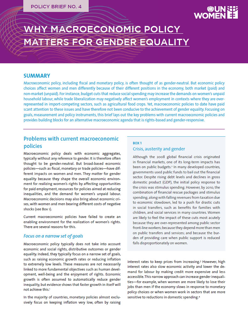 Why macroeconomic policy matters for gender equality