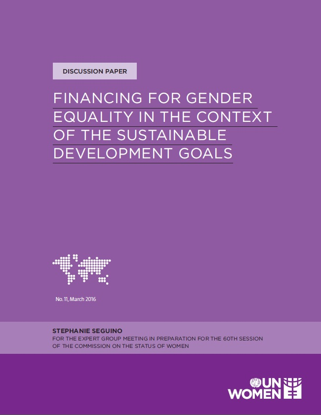 Financing for gender equality in the context of the Sustainable Development Goals