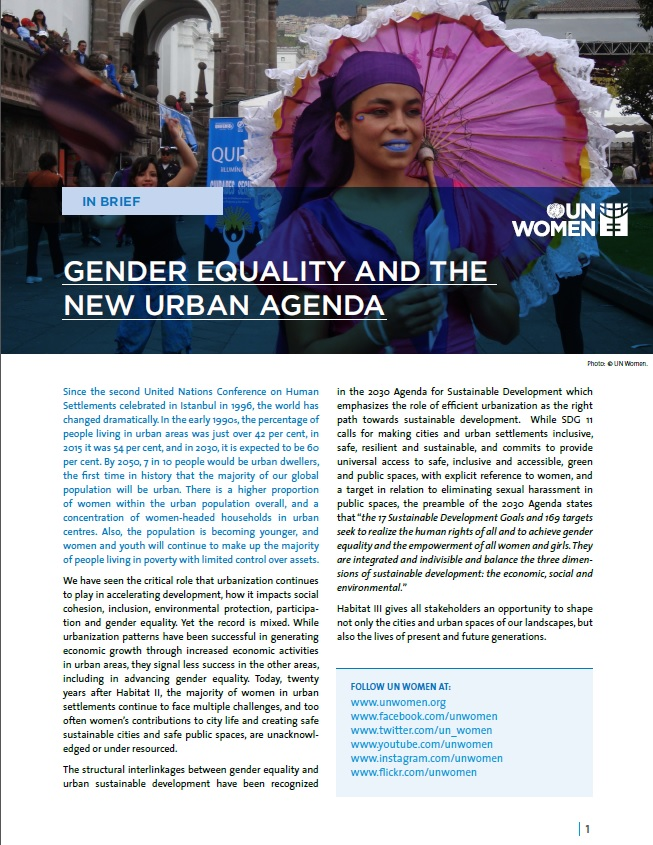 Gender Equality and the New Urban Agenda