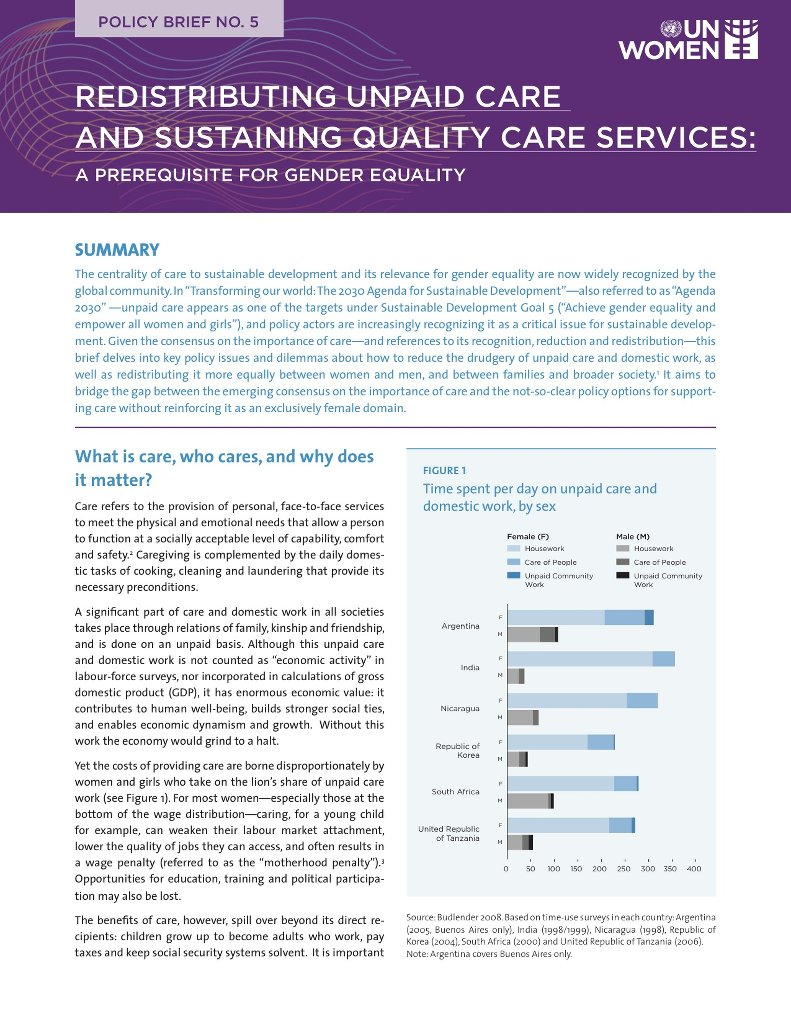 Redistributing unpaid care and sustaining quality care services: A prerequisite for gender equality