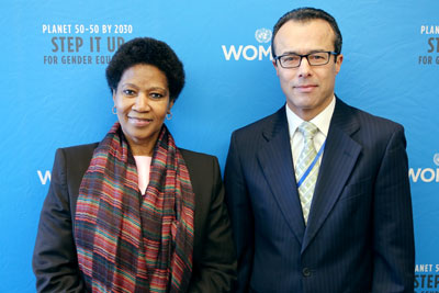 UN-Women Executive Director Phumzile Mlambo-Ngcuka and UN-Women Executive Board President H.E. Mr. Mohamed Khaled Khiari, Ambassador and Permanent Representative of Tunisia to the United Nations. Photo: UN-Women/Nathan Beriro.