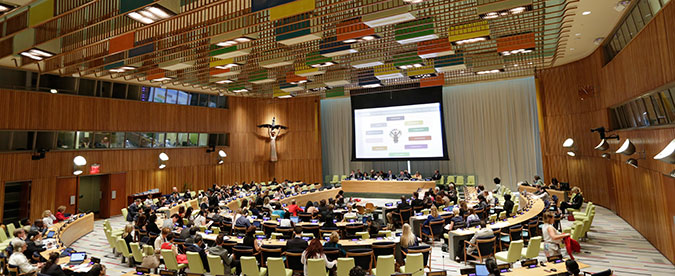 Wide view of the Trusteeship Council Chamber during the closing session of the UN Women Executive Board annual meeting, held at UN Headquarters, on 28 June 2016. Photo: UN Women/Ryan Brown.