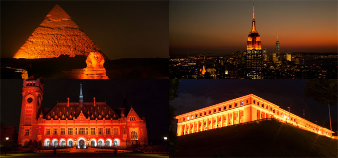 places around the world lit orange.