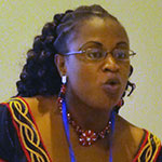 "Chi Yvonne Leina speaks about ""Problems faced by Female Journalists in Africa"" during the West African Conference for journalists organized by the Media Project in June 2011. Photo credit: Yemi Kosoko"