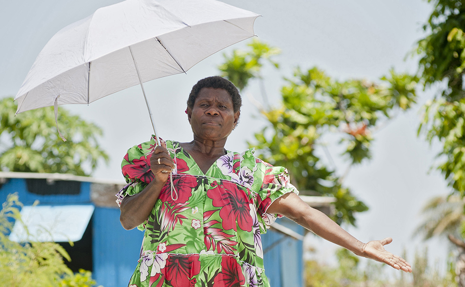 Janis Kalo, 58, leads the local women's association and church groups on Moso — which is known as the 'dry island'. Cyclone Pam destroyed many houses and village buildings, as well as village crops.