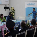 Panel discussion with traditional and religious leaders, UN system partners and representatives of the Cameroon's political parties in September 2013. Photo: UN Women